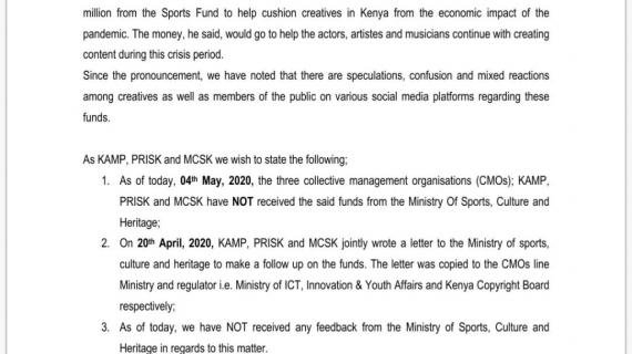 PRESIDENT UHURU KENYATTA'S 100M TO CREATIVES DURING COVID 19 PERIOD