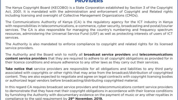 COMMUNICATION AUTHORITY OF KENYA COMPELS BROADCASTERS TO ACQUIRE COPYRIGHT LICENSE